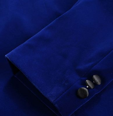Royal Blue Velvet Tuxedo Jacket | Shawl Lapel Prom Suits Online_4
