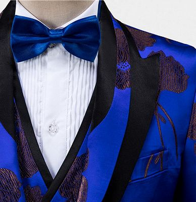 Bronze Royal Blue Floral Tuxedo Online | Tailored Three Pieces Men Suits_5