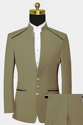 Cheap Mandarin Collar Suit | Custom Two Pieces Men Suits for Prom_1
