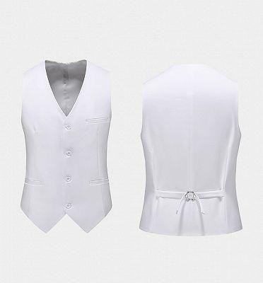 Formal White Business Men Suits with Three Pieces | Peak Lapel Custom Suit Online_2
