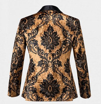 Tailored Gold Velvet Damask Tuxedo | Double Breasted Shawl Lapel Men suits for Prom_2