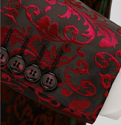 Burgundy Paisley Tuxedo Jacket | Glamorous Jacquard Blazer for Prom_4