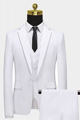 Formal White Business Men Suits with Three Pieces | Peak Lapel Custom Suit Online_1