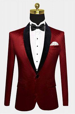 Burgundy Velvet Prom Men Suits | One Button Boyfriend Blazer_1