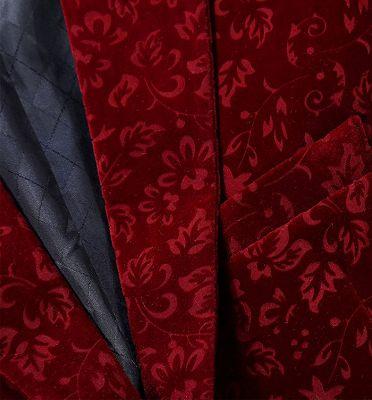 Burgundy Floral Velvet Blazer   Fashion Suit Sizes for Men_3