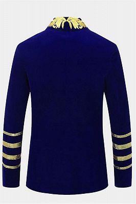 Royal Blue Blazer for Men | Gold Embroidered Lapel Velvet Jacket_2
