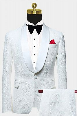 White Jacquard Wedding Men Suits | Elegant Two Piece Shawl Lapel Groom Suits_1