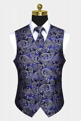 Fashion Cobalt Blue Paisley Prom Mens Vest Online_1