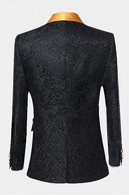 Black Jacquard Tuxedo with Gold Shawl Lapel | Three Pieces Men Suits_2