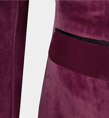 Burgundy Velvet Three Pieces Tuxedo | Peak Lapel Prom Suits For Men_4