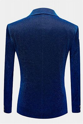 Glitter Blue Sequin Tuxedo Jacket | Cheap Slim Fit Prom Men Suits Online_2