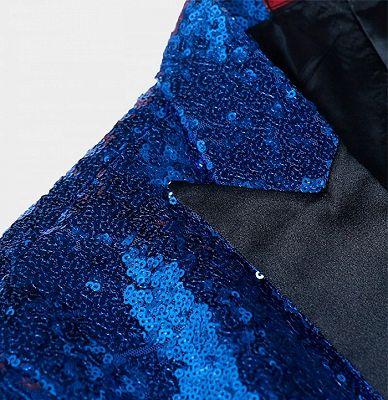 Royal Blue Sequin Men Suits | One Piece Cheap Blazer with Peak Lapel_3