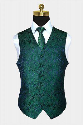 Dark Green Paisley Vest Set for Sale Online_1