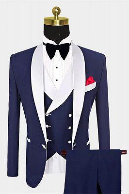 Navy Blue Groomsmen White Shawl Lapel | One Button Wedding Tuxedos 3 Pieces_1