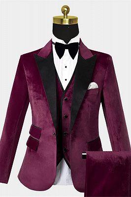 Burgundy Velvet Three Pieces Tuxedo | Peak Lapel Prom Suits For Men_1