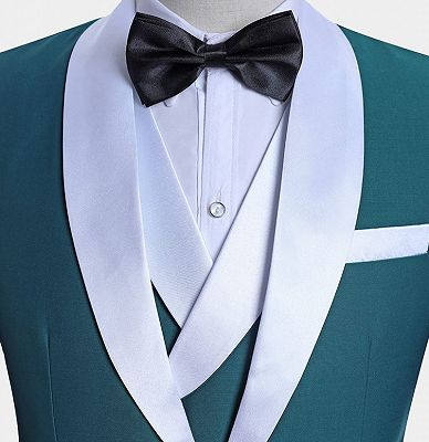 Teal Blue Tuxedo with Light-colored Trim | Formal Business Men Suits_4