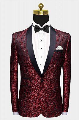 Burgundy Paisley Tuxedo Jacket   Glamorous Jacquard Blazer for Prom_1