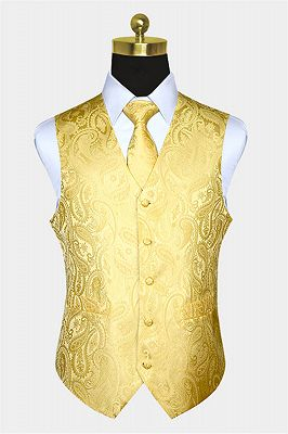 Silk Yellow Paisley Vest with Tie Set_1