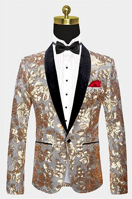 Silver Velvet Jacket with Gold Sequins | Shawl Lapel Unique Men Suits