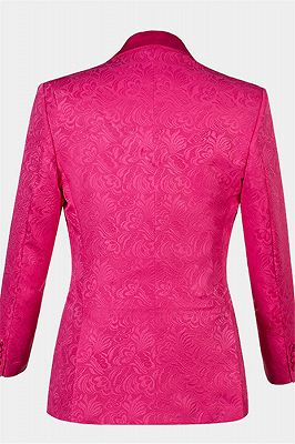 Floral Pink Jacquard Men Suits Online | Slim Fit Prom Suits with One Button_2