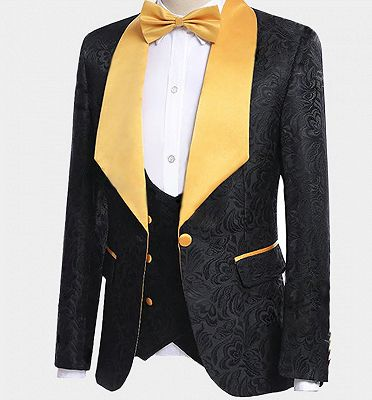 Black Jacquard Tuxedo with Gold Shawl Lapel | Custom Made Three Pieces Men Suits_5