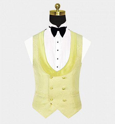 Tailored Yellow Jacquard Men Suits | Three Pieces Shawl Lapel Tuxedo_3