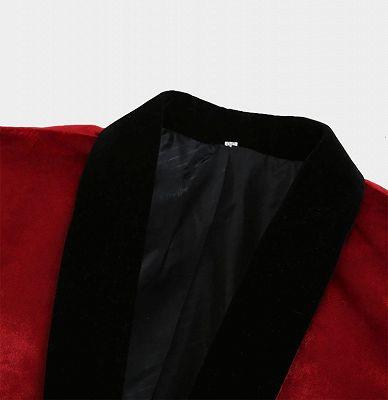 Burgundy Velvet Prom Men Suits | One Button Boyfriend Blazer_3