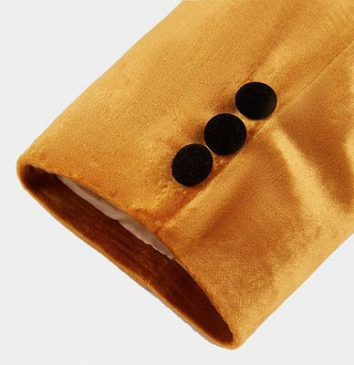 Gold Velvet Tuxedo Jacket with One Button | Classic Suit Sizes for Men_4