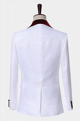 White Jacquard Men Suits with Burgundy Lapel | Floral Tuxedo_2
