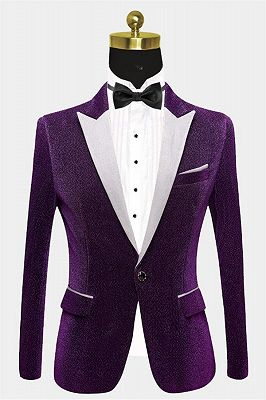Shiny Purple Sequin Blazer Online | Peak Lapel Glitter Prom Men Suits_1