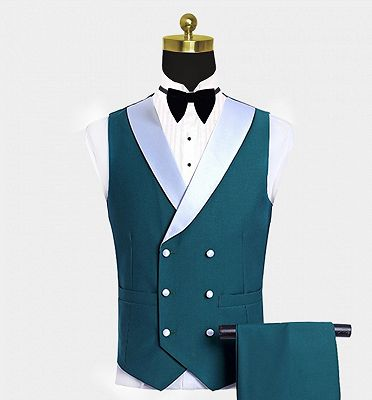 Teal Blue Tuxedo with Light-colored Trim | Formal Business Men Suits_3