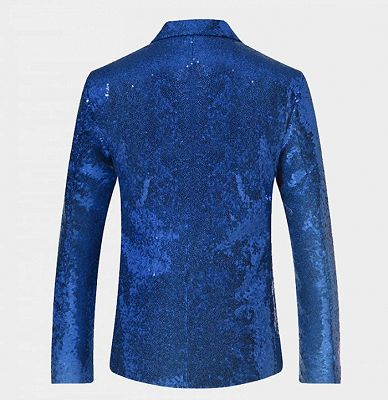 Royal Blue Sequin Men Suits | One Piece Cheap Blazer with Peak Lapel_2