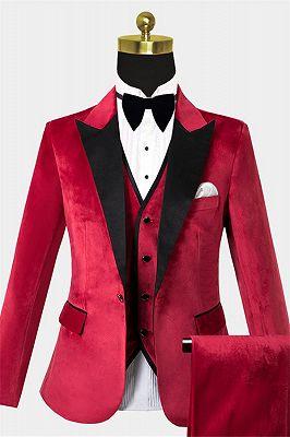 Red Velvet Peak Lapel Tuxedo | Bespoke Three Pieces Men Suits Cheap_1