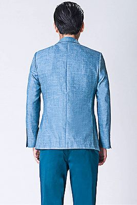 Fashion Blue Jacket | Notched Lapel Men Suit_2