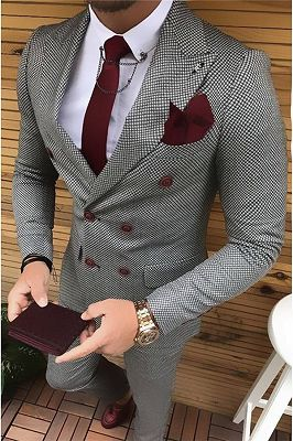 Black and White Bird Eye Double Breast Tuxedo | Fashion houndstooth Men Suits 2 Pieces_1