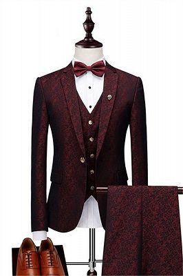 Wine Ruby Notched Laple Prom Suits for Men | Bespoke Three Pieces Jacquard Tuxedo_1