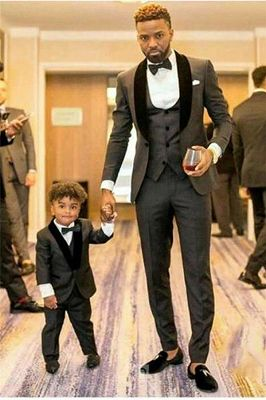 Shawl Lapel Gray and Black Wedding Suit | Tailored Groomsmen Tuxedos 3 Pieces_1