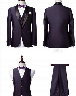 Classic Dark Purple Shawl Lapel Black Wedding Tuxedo| Bespoke Prom Dress Suit 3 Pieces_3