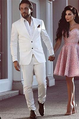 Tailor Made White Groom Tuxedos | Glamorous Wedding Suits for Men 2 Pieces_1