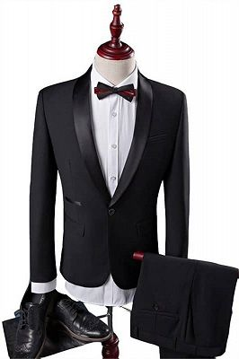 New Arrival Black Groom Tuxedos Groomsmen | Shawl Lapel Best Men Suit Bridegroom Wedding Prom Suits_1