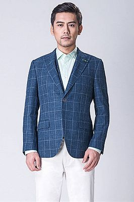 Casual Blended Blue Outdoor Balzer | Business Plaid Jacket Online_1