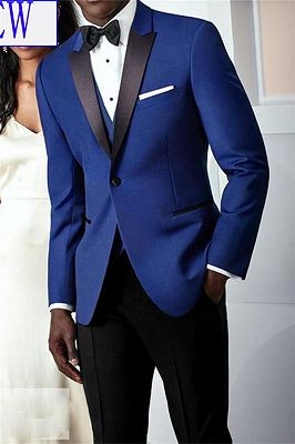 Royal Blue and Black Peak Lapel Prom Men Suit | 2 Pieces Custom Made Tuxedo_1