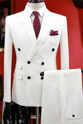 White Bouble Breast Wedding Dress Suits | Men Groom Tuxedos with 2 Pieces_2