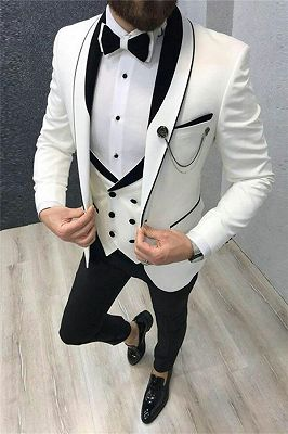 White Wedding Tuxedos with Black Lapel | Custom Made Groom Suits for men 2020 3 Pieces_1