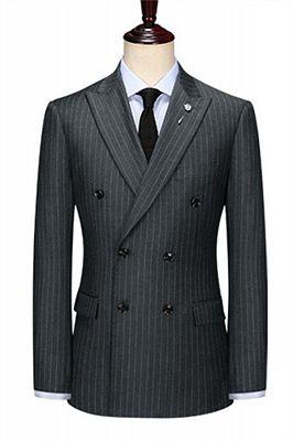 Double Breasted Black Men Jacket   Peak Lapel Grey Stripe Blazer Online_1