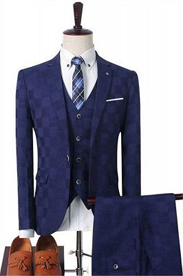 Dark Red Plaid Business Men Suits | Prom Men Suits with 3 Pieces_2