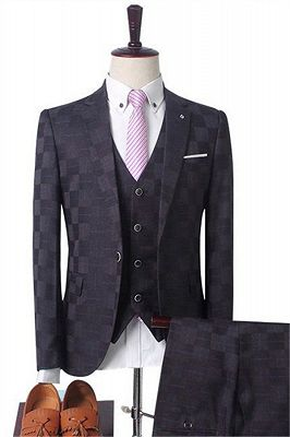 Dark Red Plaid Business Men Suits | Prom Men Suits with 3 Pieces_3