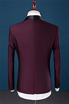 Burgundy Slim Fit Shawl Lapel Groomsmen Suit | Fashion Black Trim Tuxedo Mens's 3 Pieces Suits_2