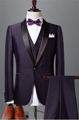 Classic Dark Purple Shawl Lapel Black Wedding Tuxedo| Bespoke Prom Dress Suit 3 Pieces_1