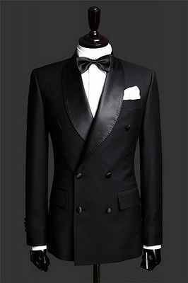 Black Double Breast Wedding Suits Tuxedos   Satin Lapel 2 Pieces(Jacket pants) for wedding/prom_2
